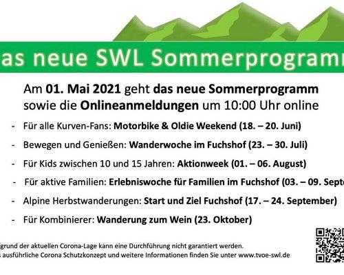 Anmeldung Sommerprogramm